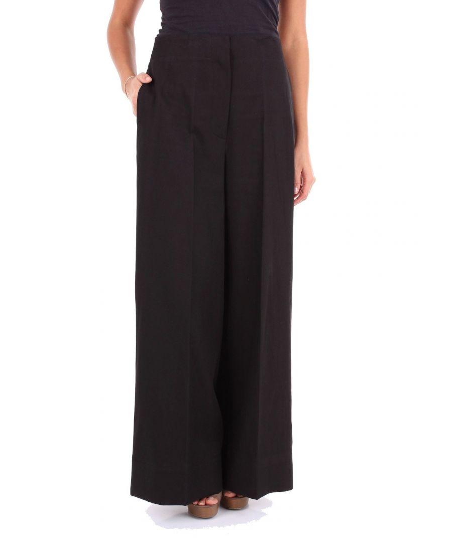 Image for JUCCA WOMEN'S J2914015003 BLACK COTTON PANTS