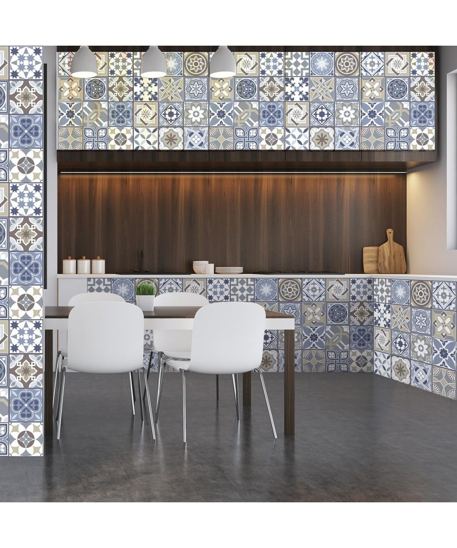 Image for Lisbon Blue Limestone Spanish Tiles Wall Stickers With Free Walplus 3 in 1 Application Tool Set Tiles Wall Stickers, Kitchen, Bathroom, Living room 15 cm x 15 cm - 48 pcs