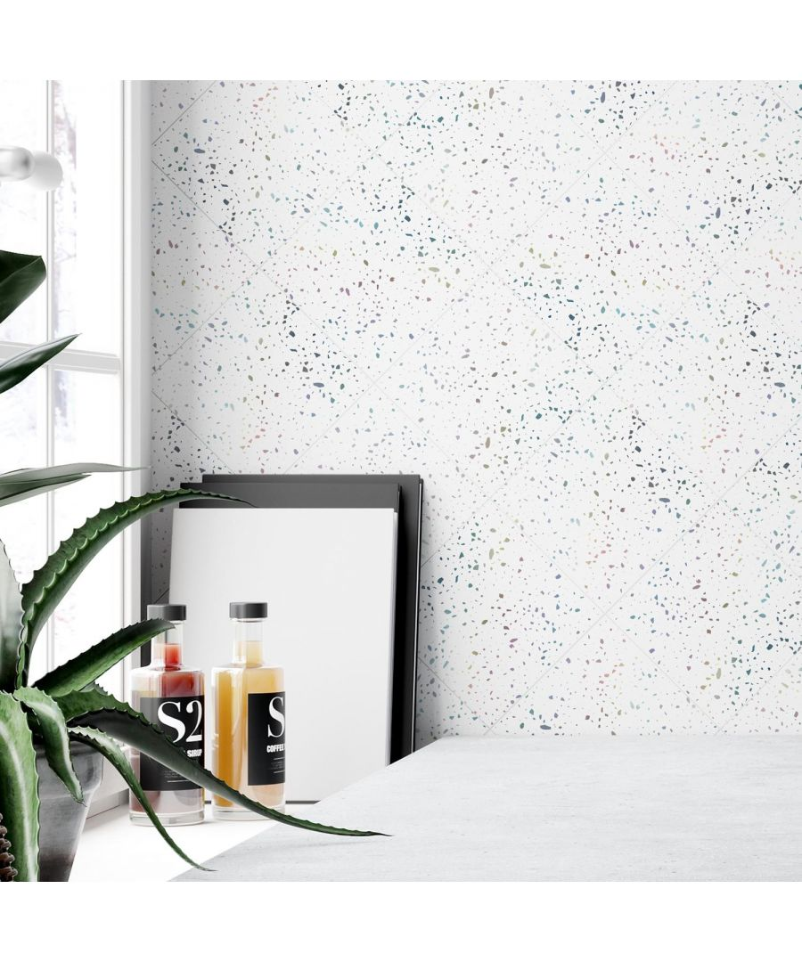 Image for Terrazzo Holographic Glitter White Wall Tile Sticker Set - 15cm (6inch) - 24pcs one pack