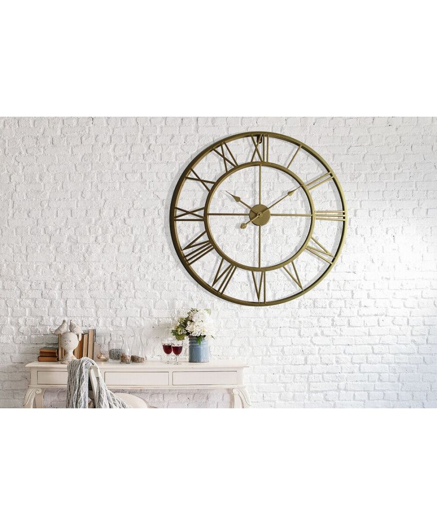 Image for Walplus Gold Metal Large Iron 76cm Wall Clock clock, Bedroom, Living room, Modern, Home office essential, Gift