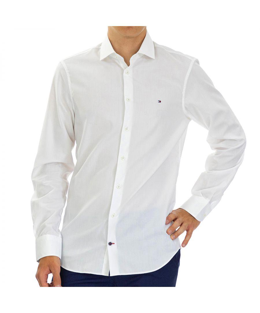 Image for Tommy Hilfiger Men's Shirt Poplin Slim Fit Full Sleeve Blue
