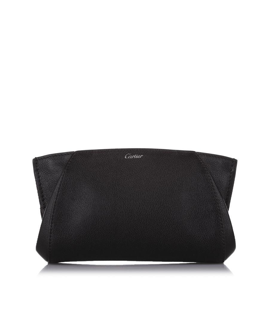 Image for Vintage Cartier C de Cartier Leather Clutch Bag Black