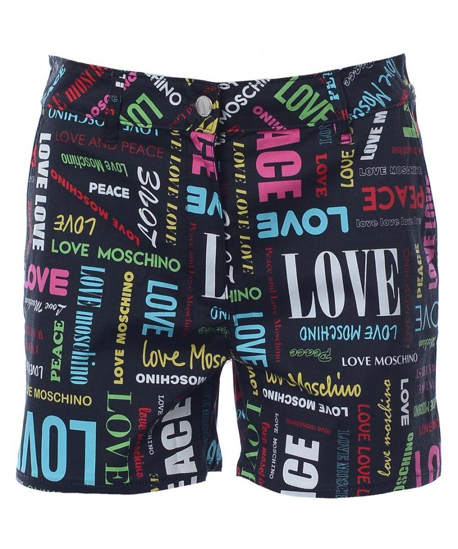 Image for Love Moschino SHORT ALLOVER LOGO-LOGO MULT/BLACK in Multicoloured