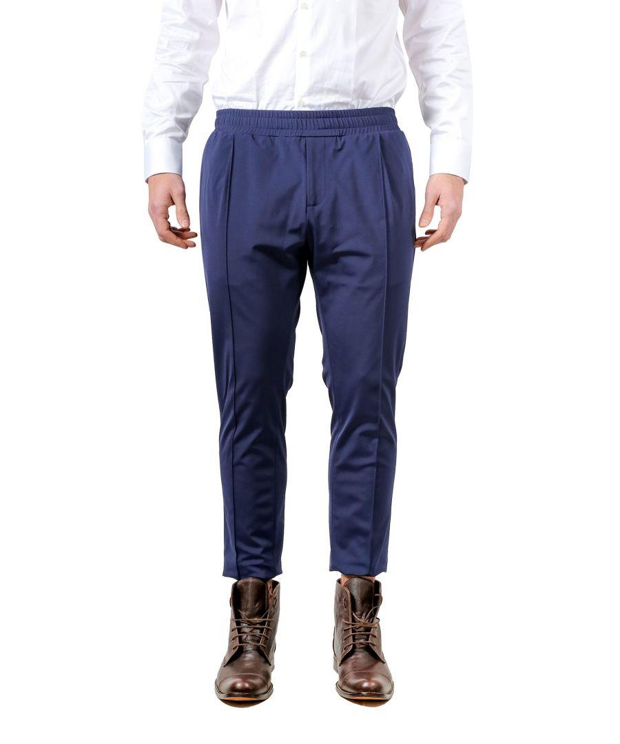 Image for DANIELE ALESSANDRINI MEN'S P3671N882400023 BLUE COTTON PANTS