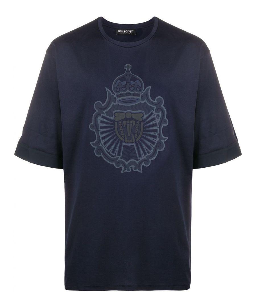 Image for NEIL BARRETT MEN'S BJT731SN529P466 BLUE COTTON T-SHIRT