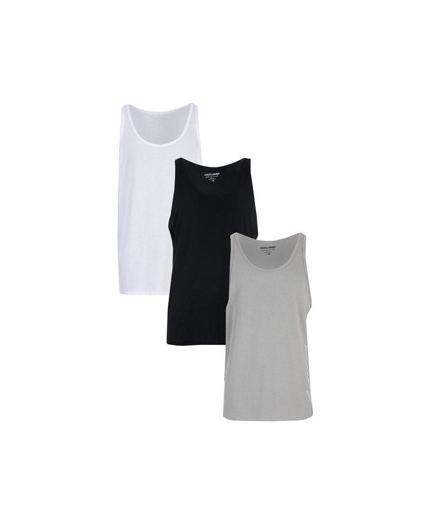 Image for Men's Jack Jones Jax 3 Pack Vests in Black Grey White