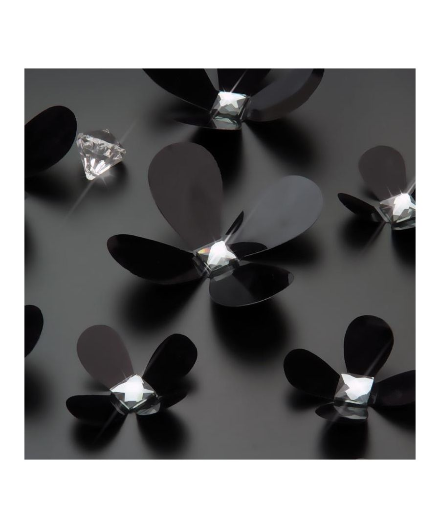 Image for 3D Luxury Crystal Flowers - Black Self Adhesive DIY Wall Sticker