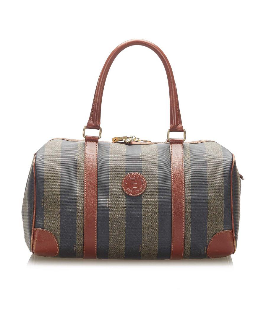 Image for Vintage Fendi Pequin Boston Bag Brown