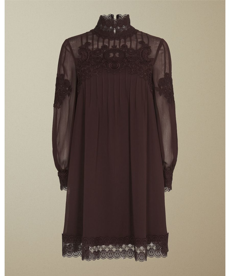 Image for Ted Baker Anneah High Neck Lace Long Sleeved Tunic, Deep Purple