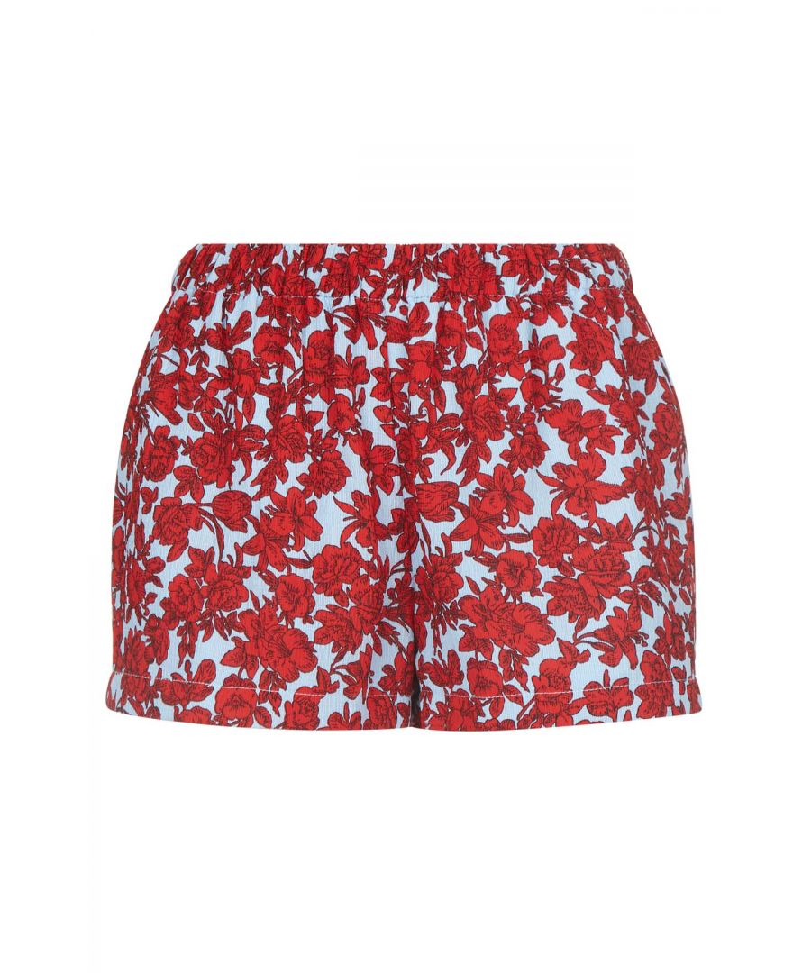 Image for Fools Floral Womens Shorts in Red and Blue