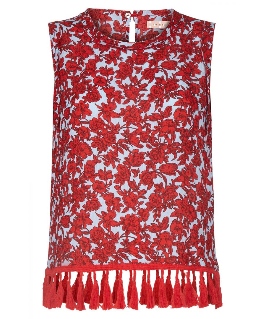 Image for Let Them Stare Floral Sleeveless Top in Blue and Red