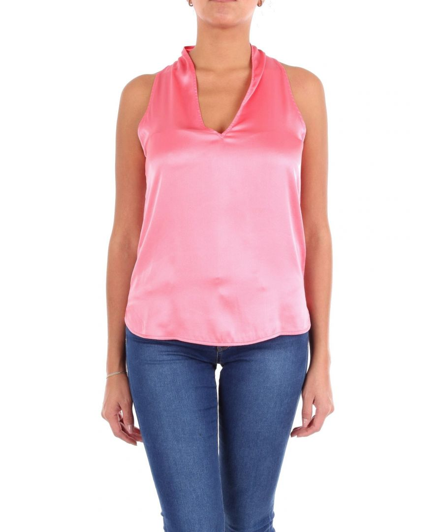 Image for JUCCA WOMEN'S J29121021578 PINK SILK TANK TOP
