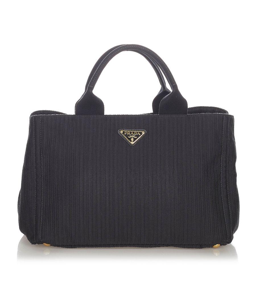 Image for Vintage Prada Canapa Canvas Handbag Black