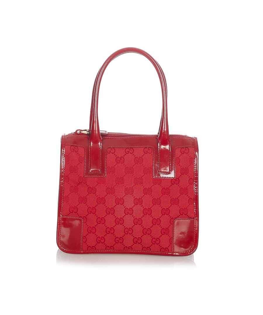 Image for Vintage Gucci GG Canvas Handbag Red