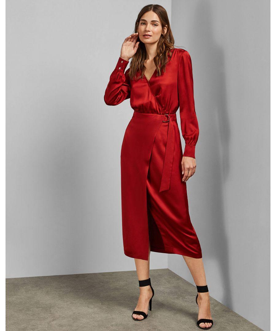 Image for Ted Baker Vernada Split Hem Midi Wrap Skirt, Brick Red