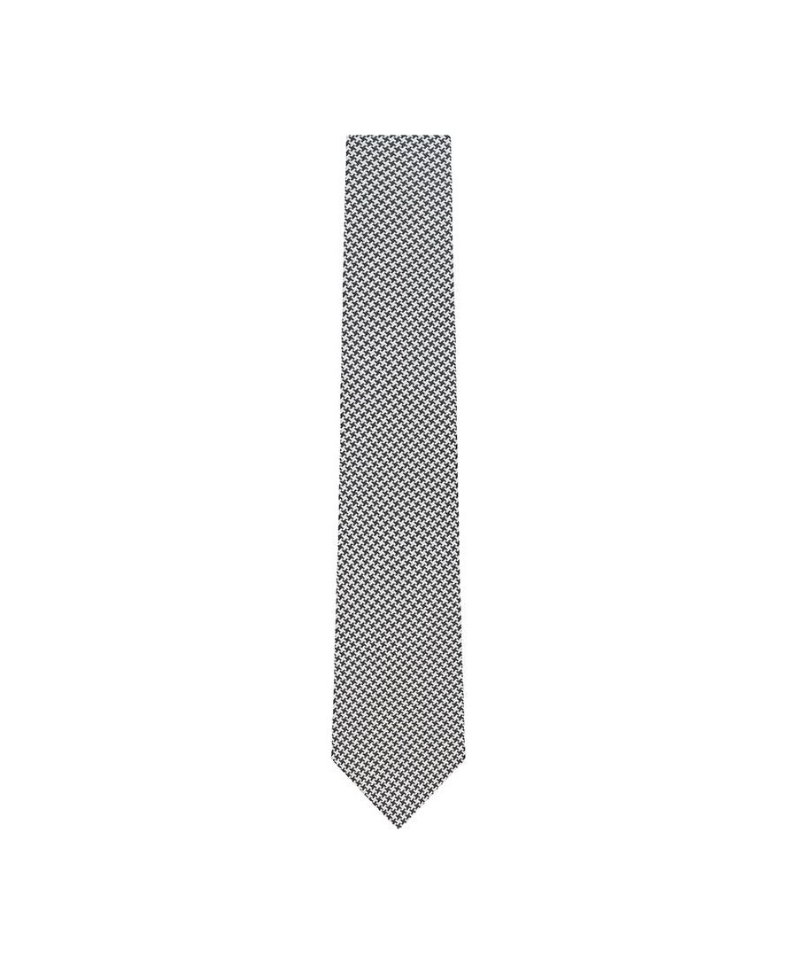 Image for Men's Hackett Mayfair Texture Houndstooth Tie in Green & Cream