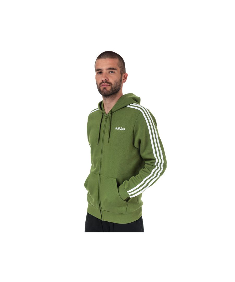 Image for Men's adidas Essentials 3-Stripes Full ZIp Hoody in Green