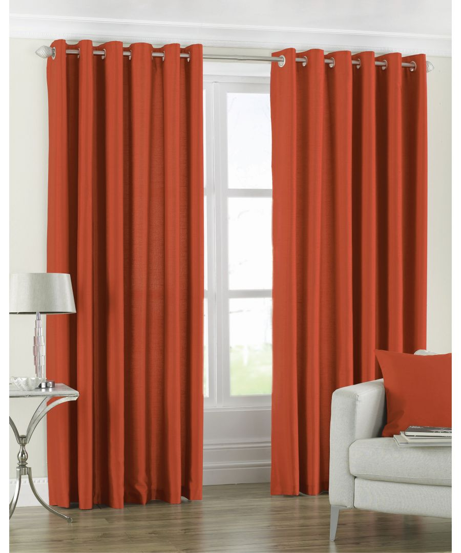 Image for Fiji Silk Effect Eyelet Curtains in Orange