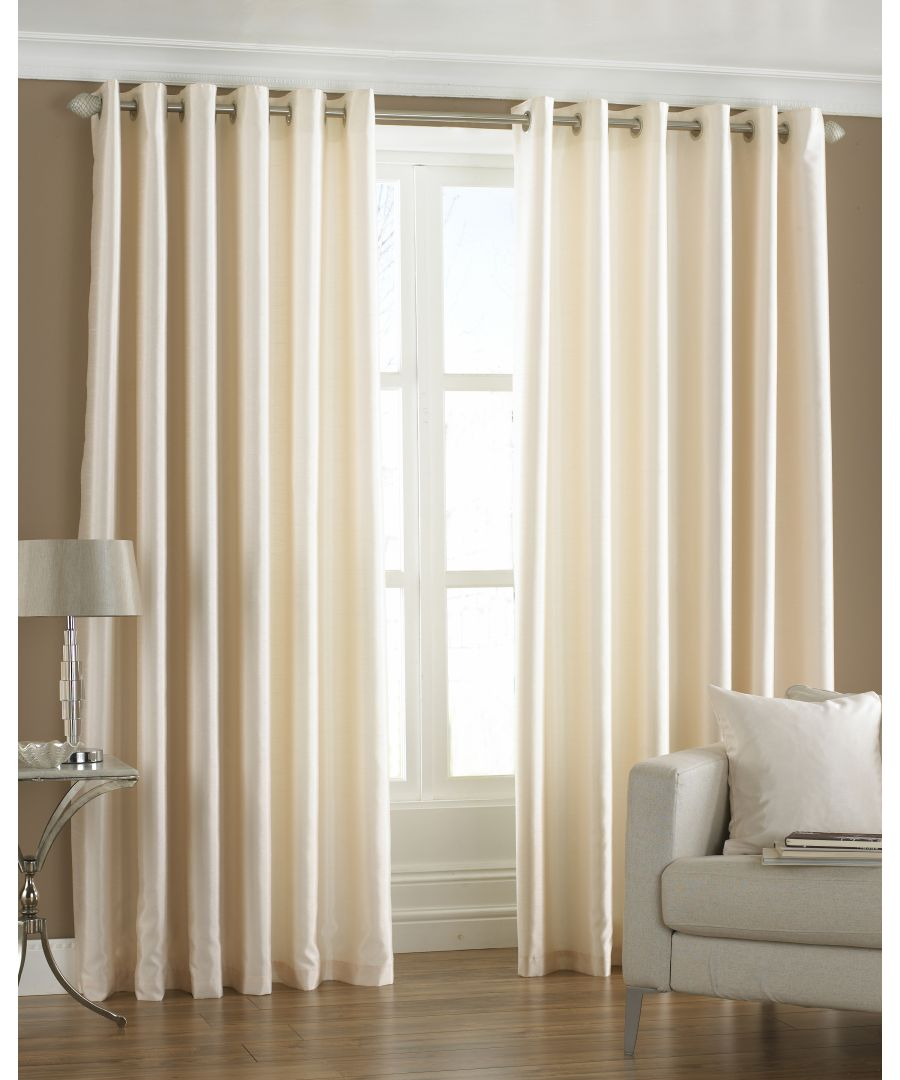 Image for Fiji Silk Effect Eyelet Curtains in Cream