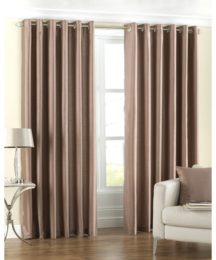 Image for Fiji Silk Effect Eyelet Curtains in Latte