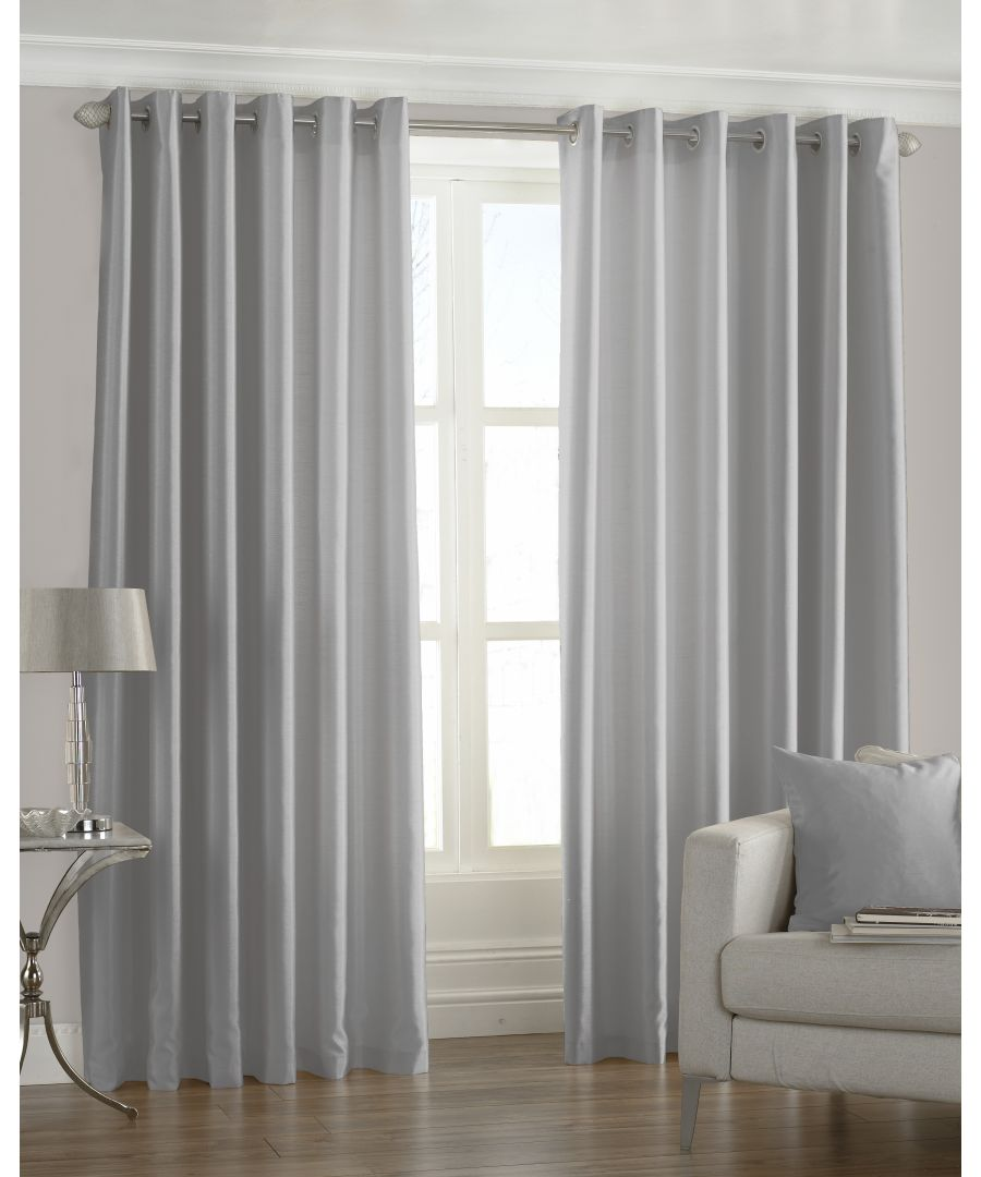 Image for Fiji Silk Effect Eyelet Curtains in Steel