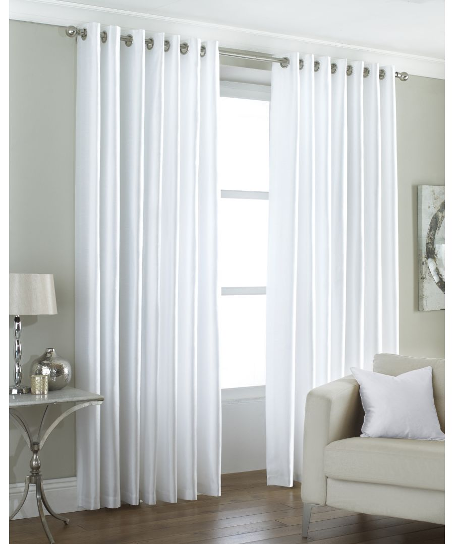 Image for Fiji Silk Effect Eyelet Curtains in White