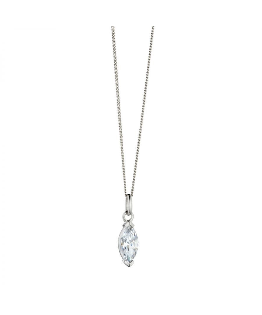 Image for Fiorelli Silver Womens Rhodium Plated 925 Sterling Silver Cubic Zirconia Marquise Pendant Necklace Length 41cm + 5cm