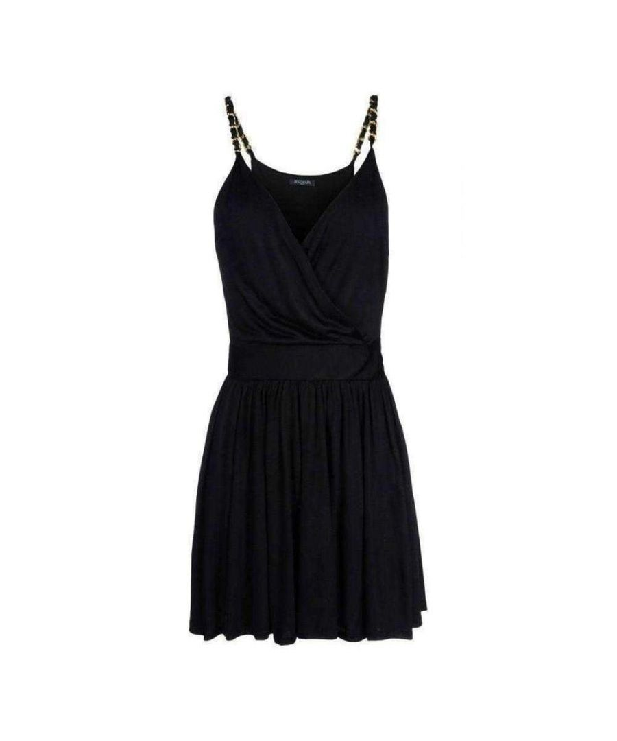 Image for Balmain Black Fitted Wrap Metal Chain Straps Silk Blend Dress