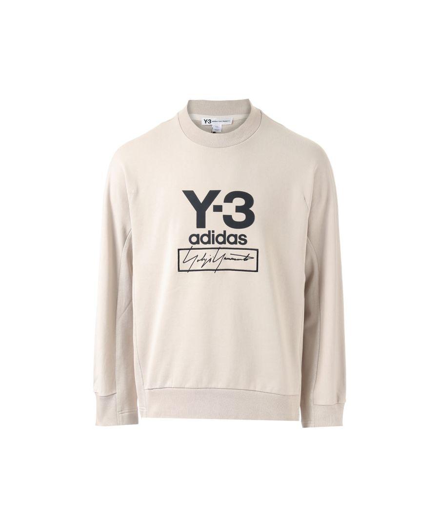 Image for Men's Y-3 Stacked Logo Crew Sweatshirt in Ecru
