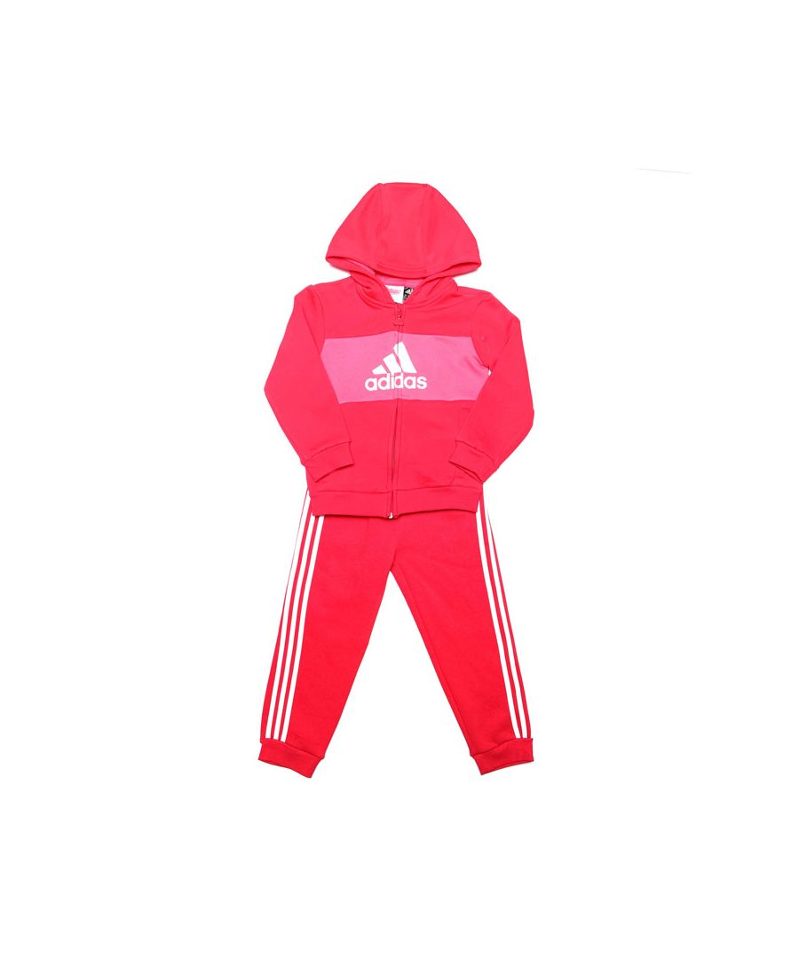 Image for Boy's adidas Baby Logo Hooded Tracksuit in Pink