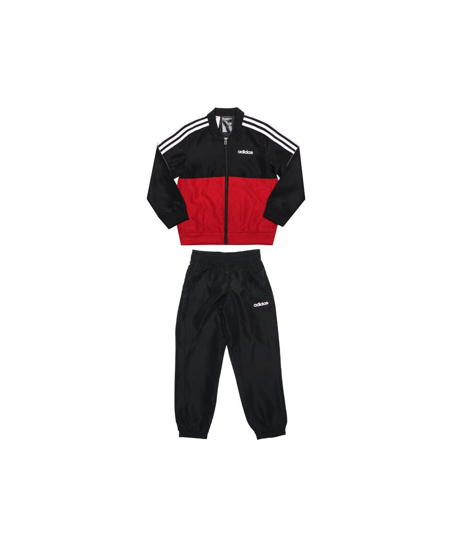 Image for Boy's adidas Junior Woven Tracksuit in Black Red