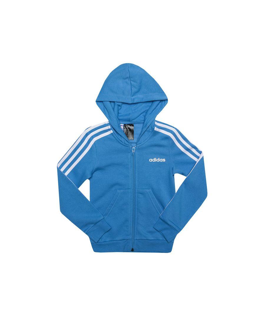 Image for Girl's adidas Junior 3-Stripes Zip Hoody in Blue-White