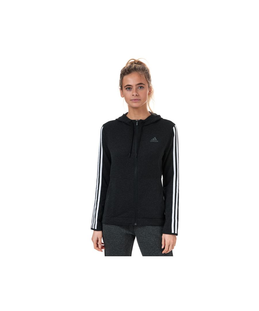 Image for Women's adidas 3-Stripes Zip Hoody in Black-White