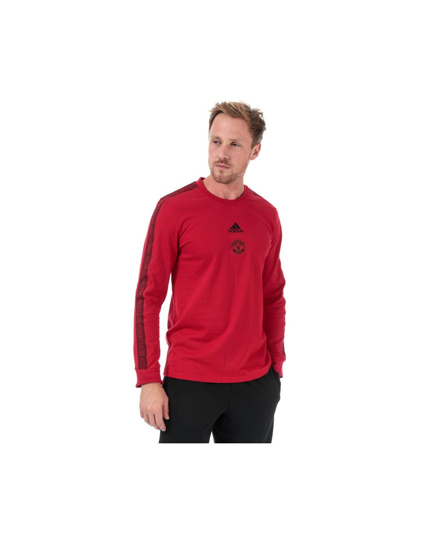 Image for Men's adidas MUFC Seasonal Long Sleeve T-Shirt in Red