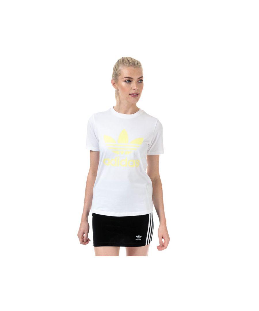 Image for Women's adidas Originals Trefoil T-Shirt in White yellow