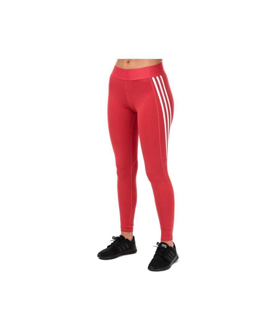 Image for Women's adidas Alphaskin 3-Stripes Long Leggings in Red