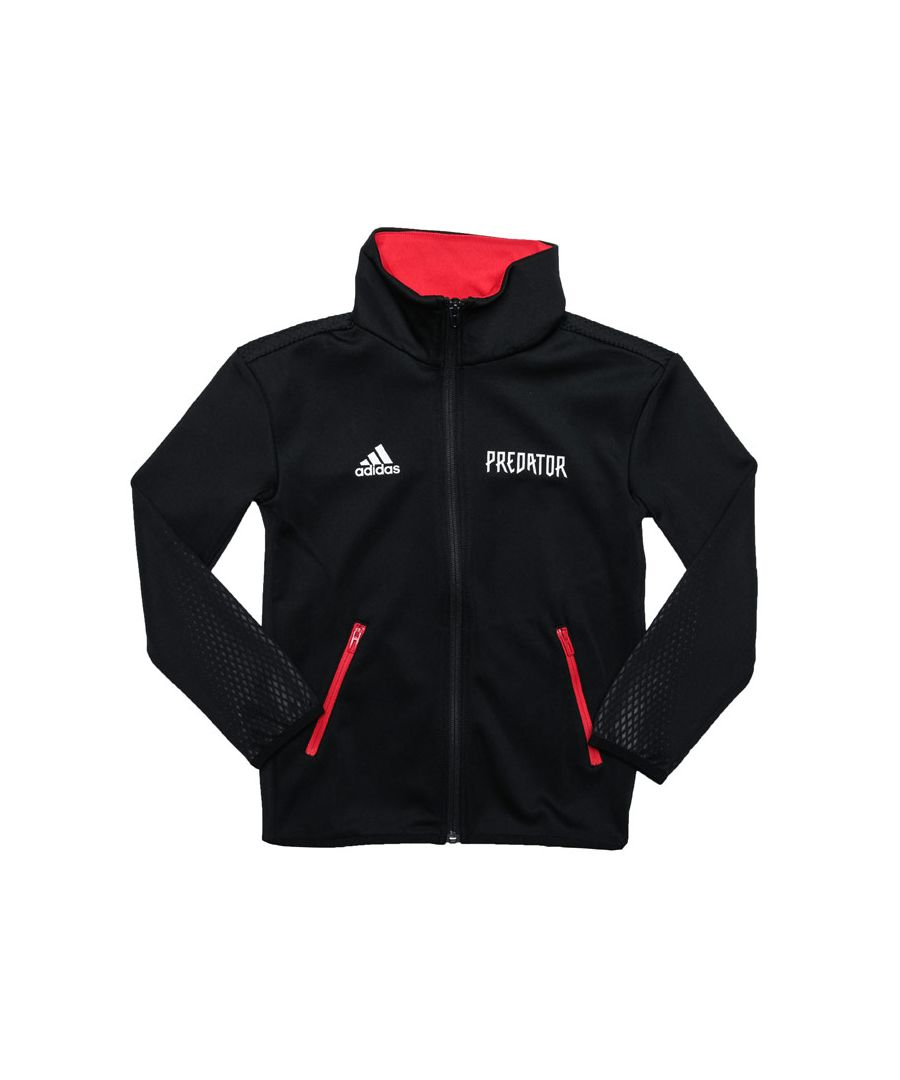 Image for Boy's adidas Junior Predator Track Top in Black Red