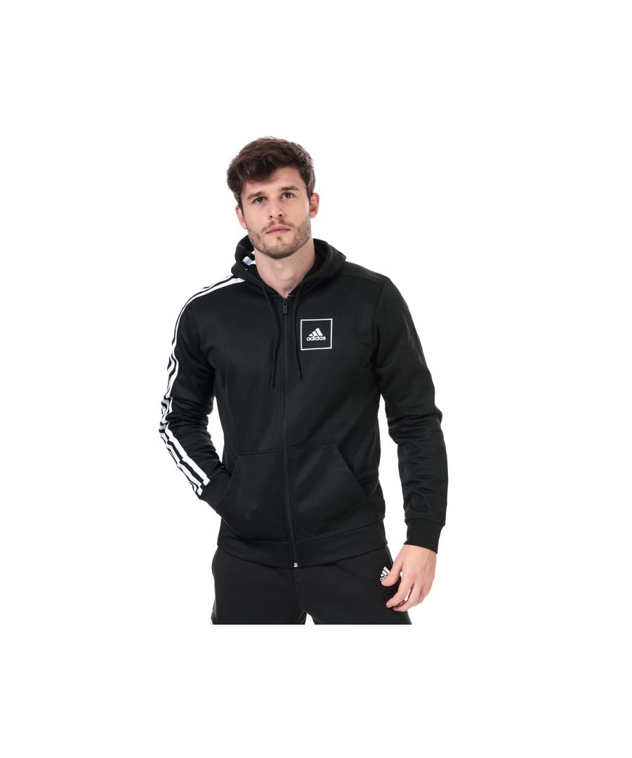 Image for Men's adidas 3-Stripes Pique Zip Hoody in Black