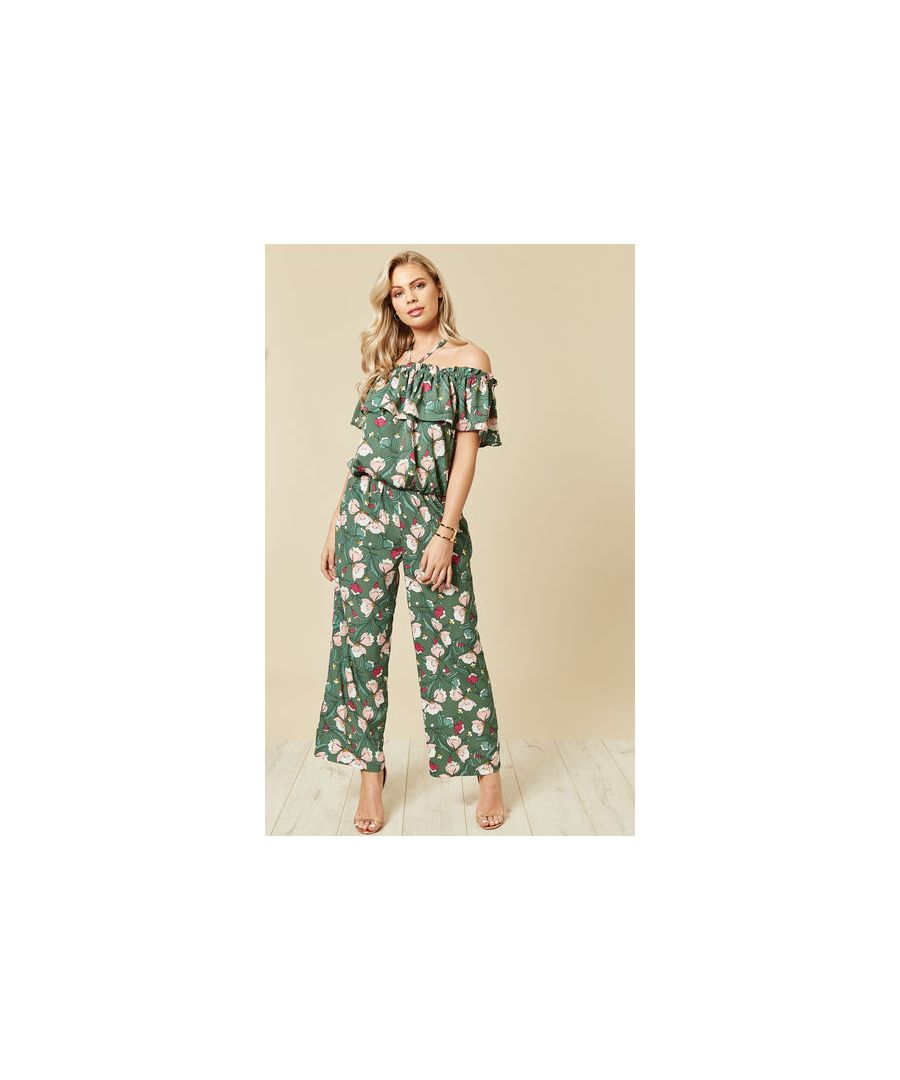 Image for Dreaming of Maui Off the Shoulder Wide Leg Jumpsuit in Green