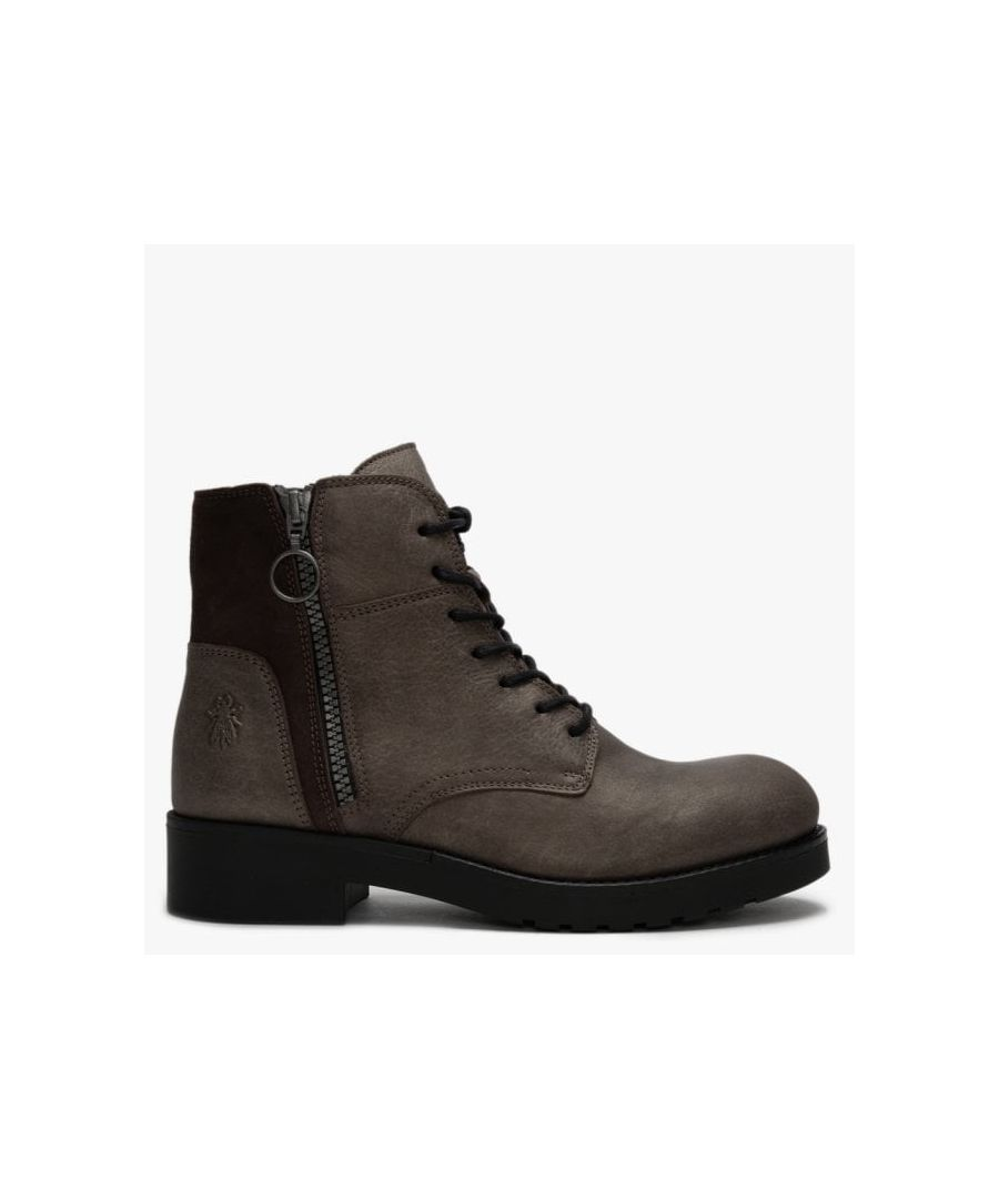 Image for Fly London Buna Leather & Suede Zip Ankle Boots