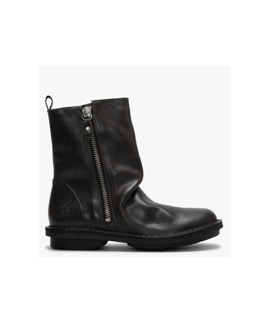 Image for Fly London Fade Ruched Leather Ankle Boots