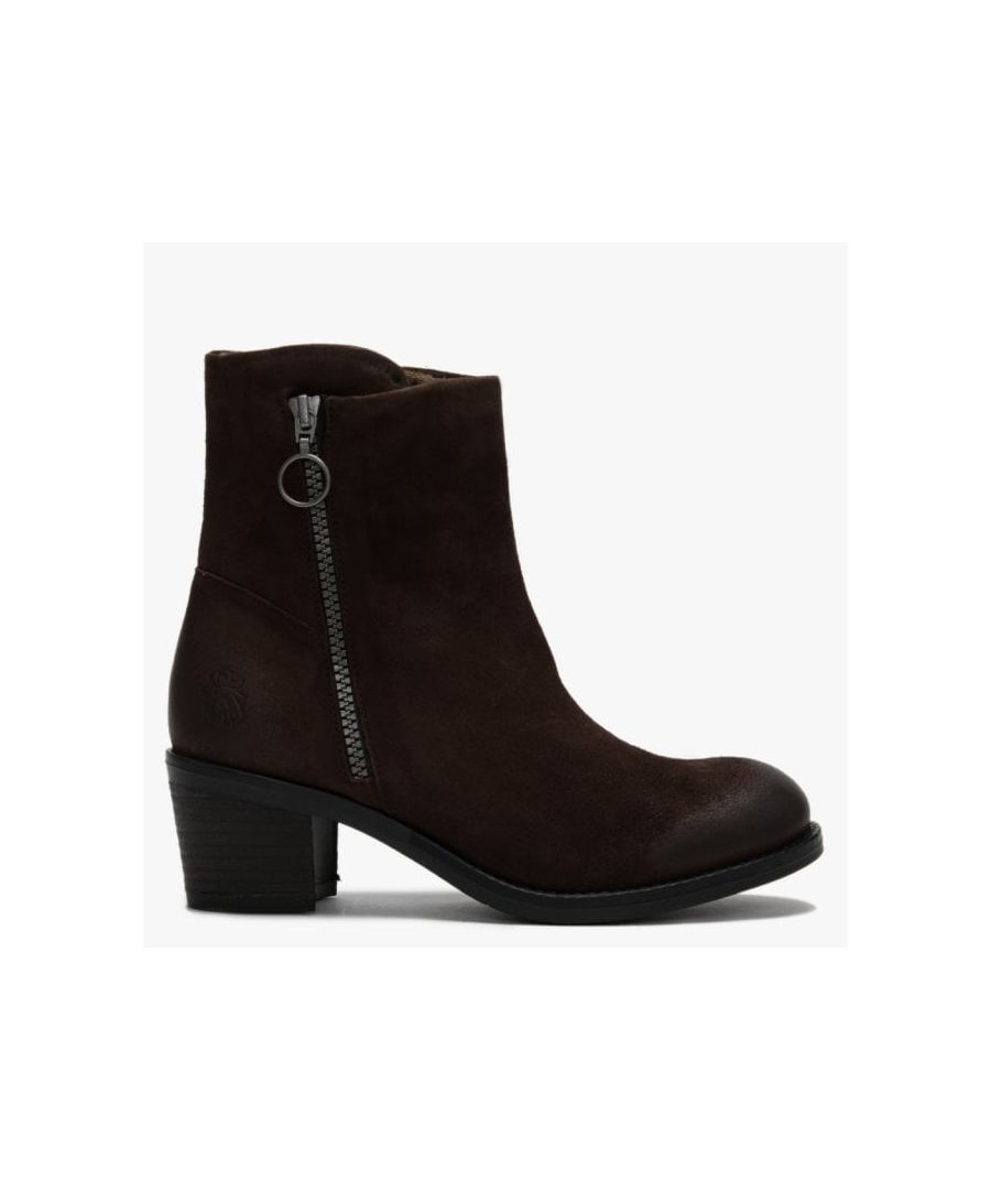 Image for Fly London Zent Suede Block Heel Ankle Boots