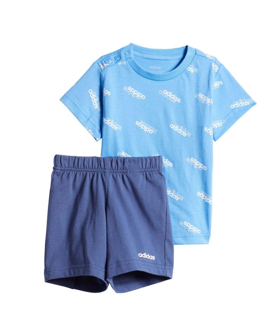 Image for adidas Favourites Infant Summer Set Blue/White - 0-3 Month