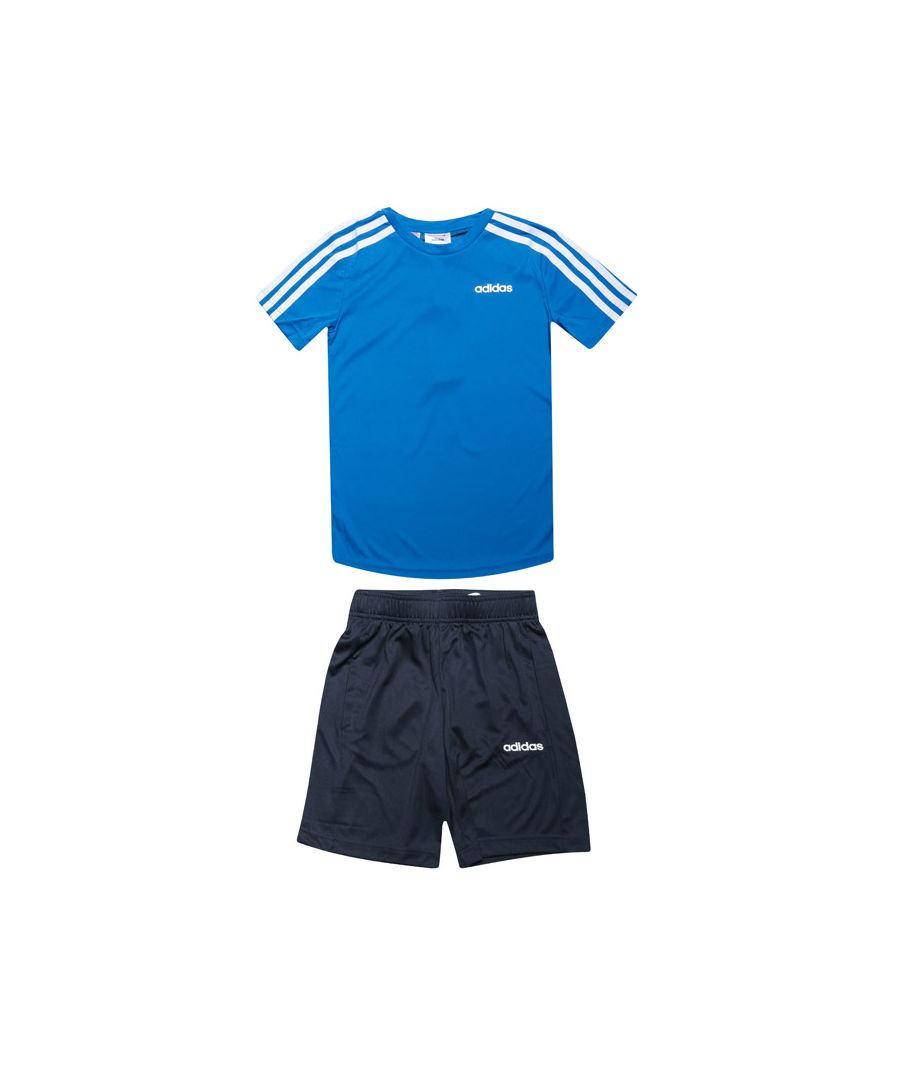 Image for Boy's adidas Infant 3-Stripes Short Set in Blue-White