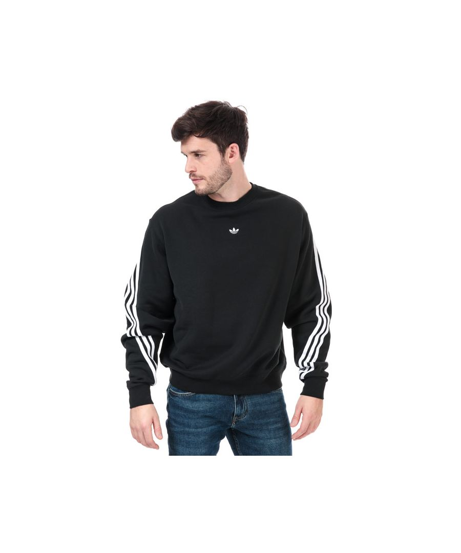 Image for Men's adidas Originals 3-Stripes Wrap Crew Sweatshirt in Black-White