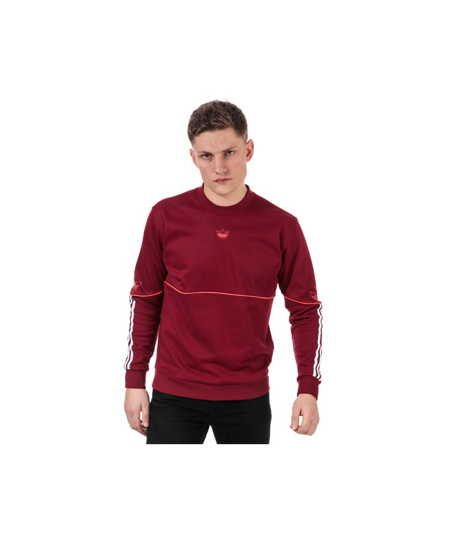 Image for Men's adidas Originals Outline Crew Sweatshirt in Burgundy