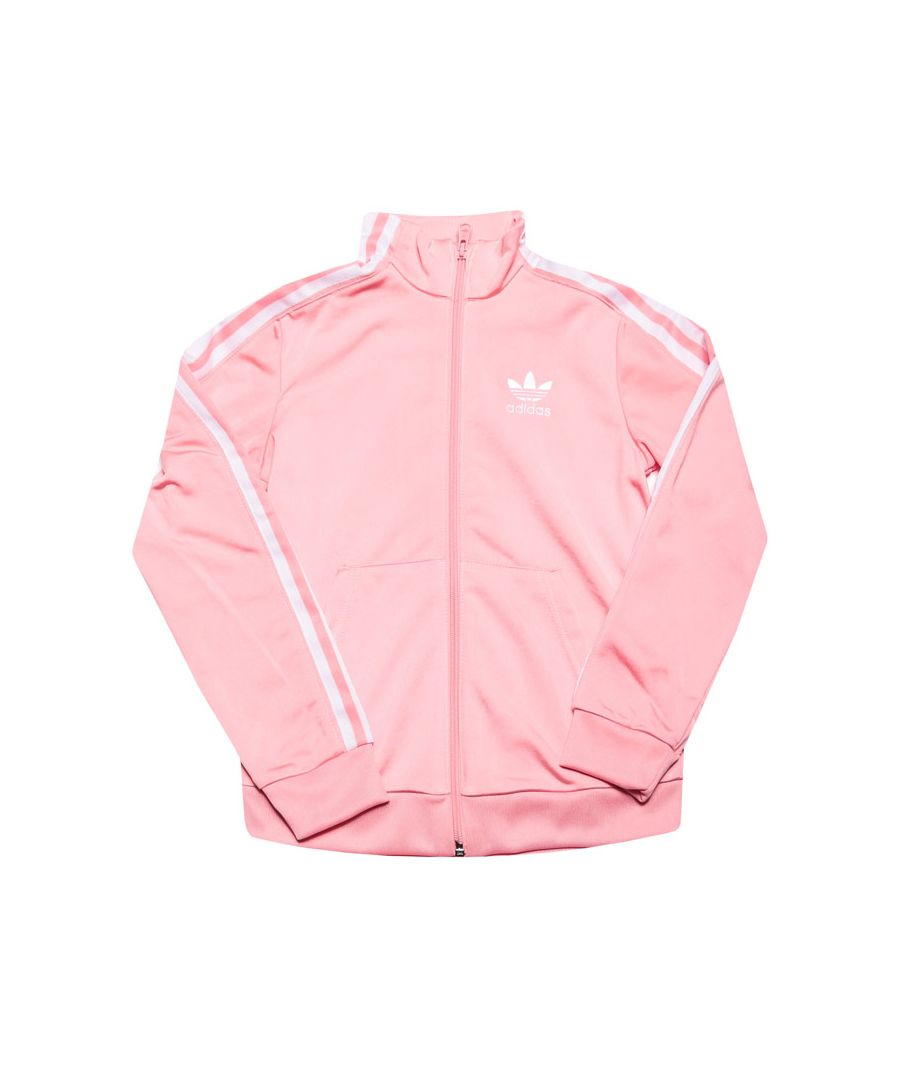 Image for Girl's adidas Originals Junior Lock Up Track Top in Pink white