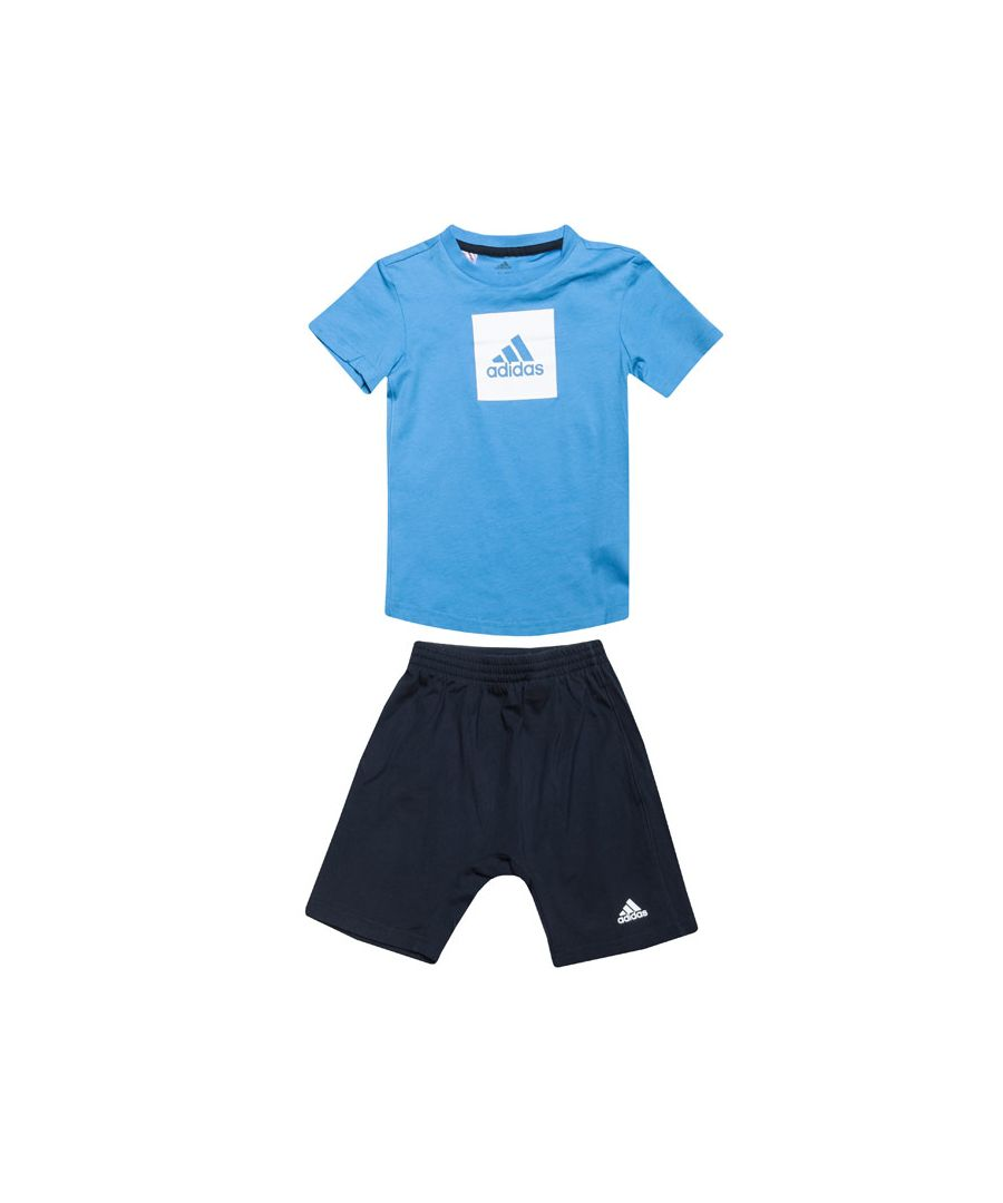 Image for Boy's adidas Baby And Infant Logo Summer Set in Blue-White