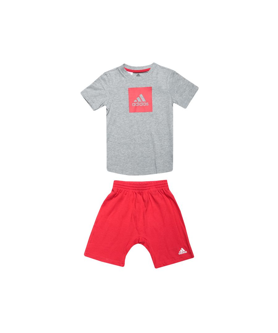 Image for Boy's adidas Baby And Infant Logo Summer Set in Grey red