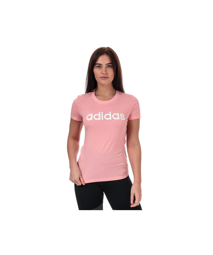 Image for Women's adidas Essentials Linear Slim T-Shirt in Pink